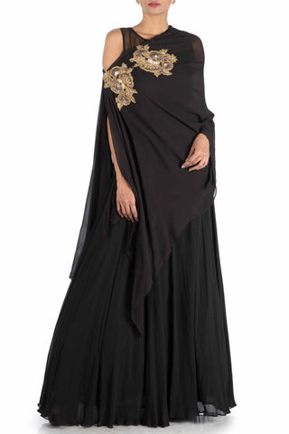 Charcoal Black Side Cape Gown Front