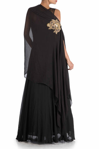 Charcoal Black Side Cape Gown