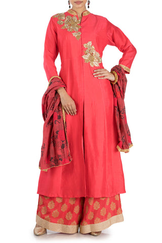 Bright Red Front Slit Suit & Palazzo Set Front