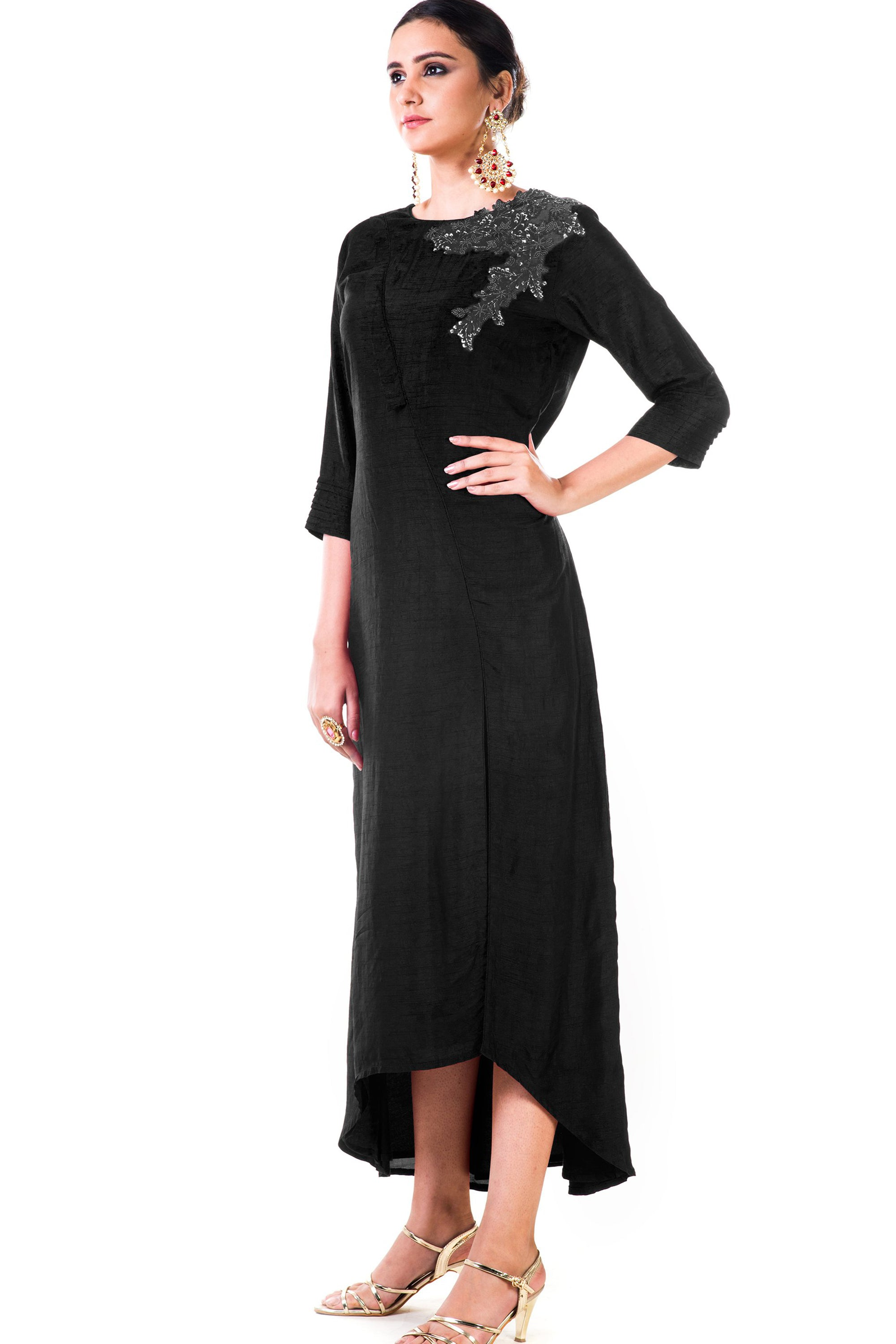 Black Bem Silk Tunic Side