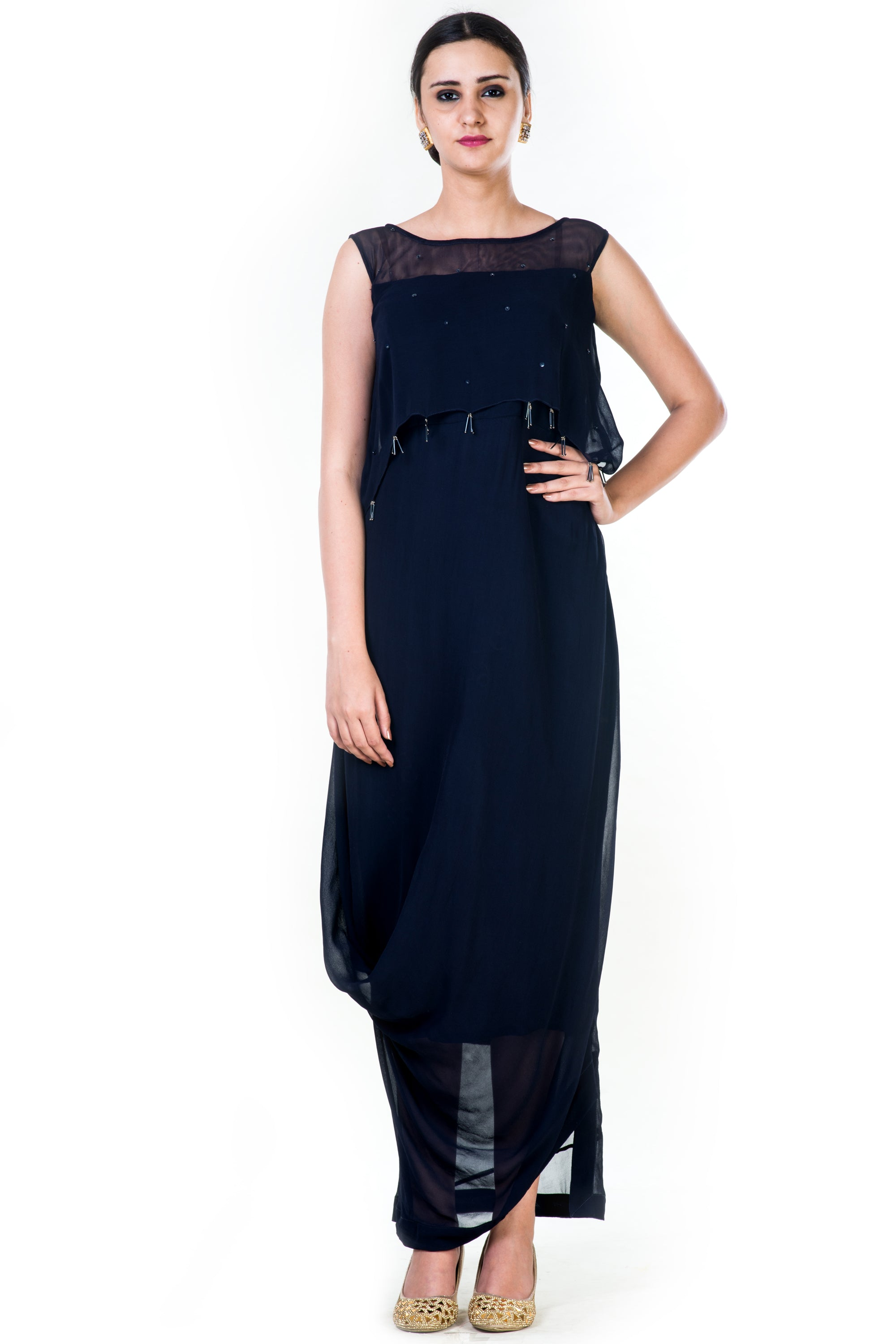 Navy Blue Draped Tassel Gown Front