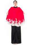 Embroidered Red Tasselled Cape Front