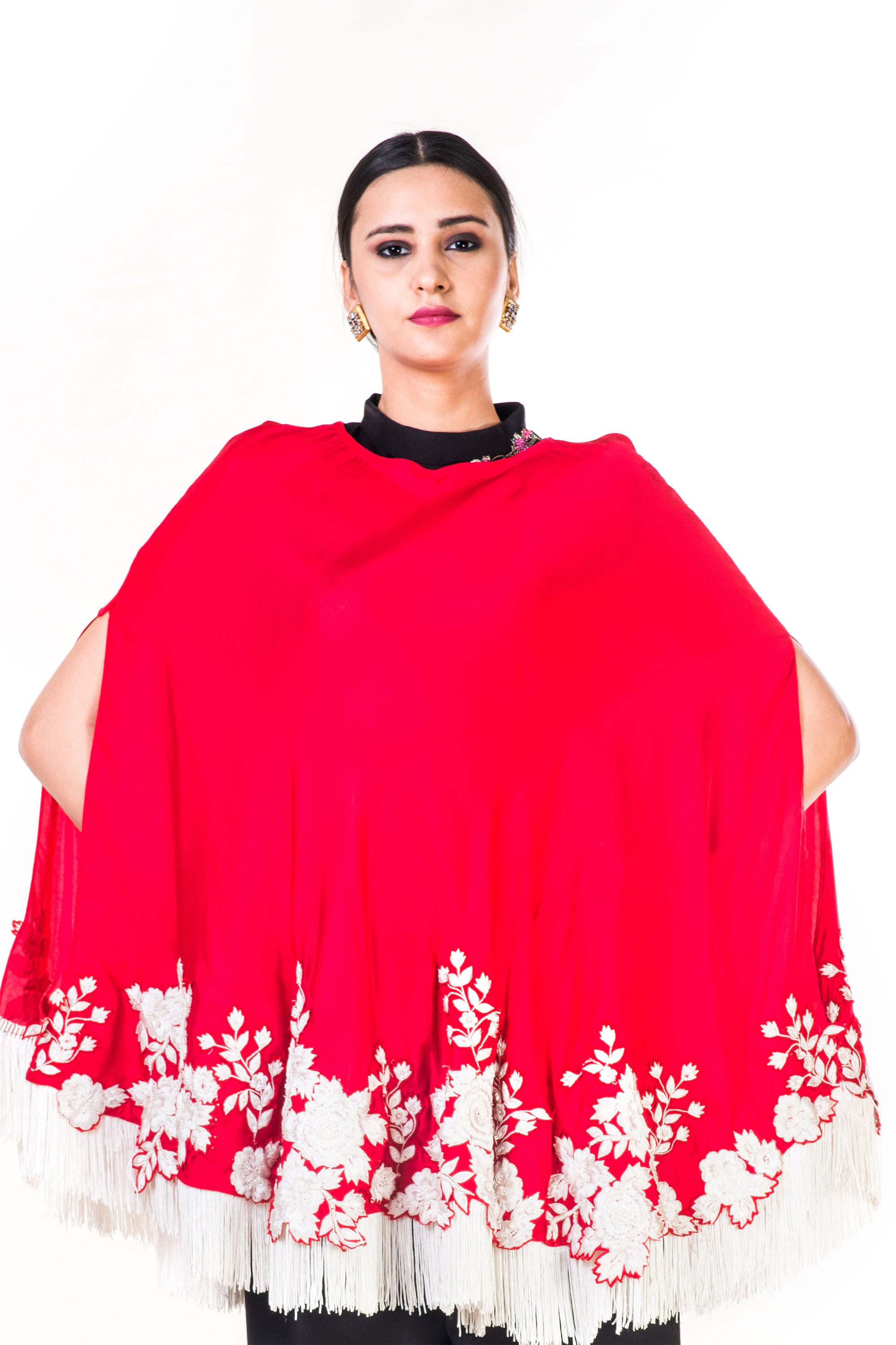 Embroidered Red Tasselled Cape CloseUp
