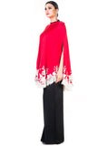 Embroidered Red Tasselled Cape Side
