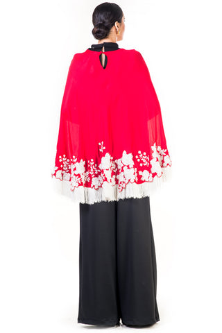 Embroidered Red Tasselled Cape
