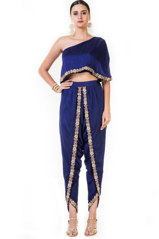 Embroidered lnk Blue Single Shoulder Indowestern Cape & Dhoti Set Front