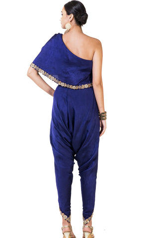 Embroidered lnk Blue Single Shoulder Indowestern Cape & Dhoti Set