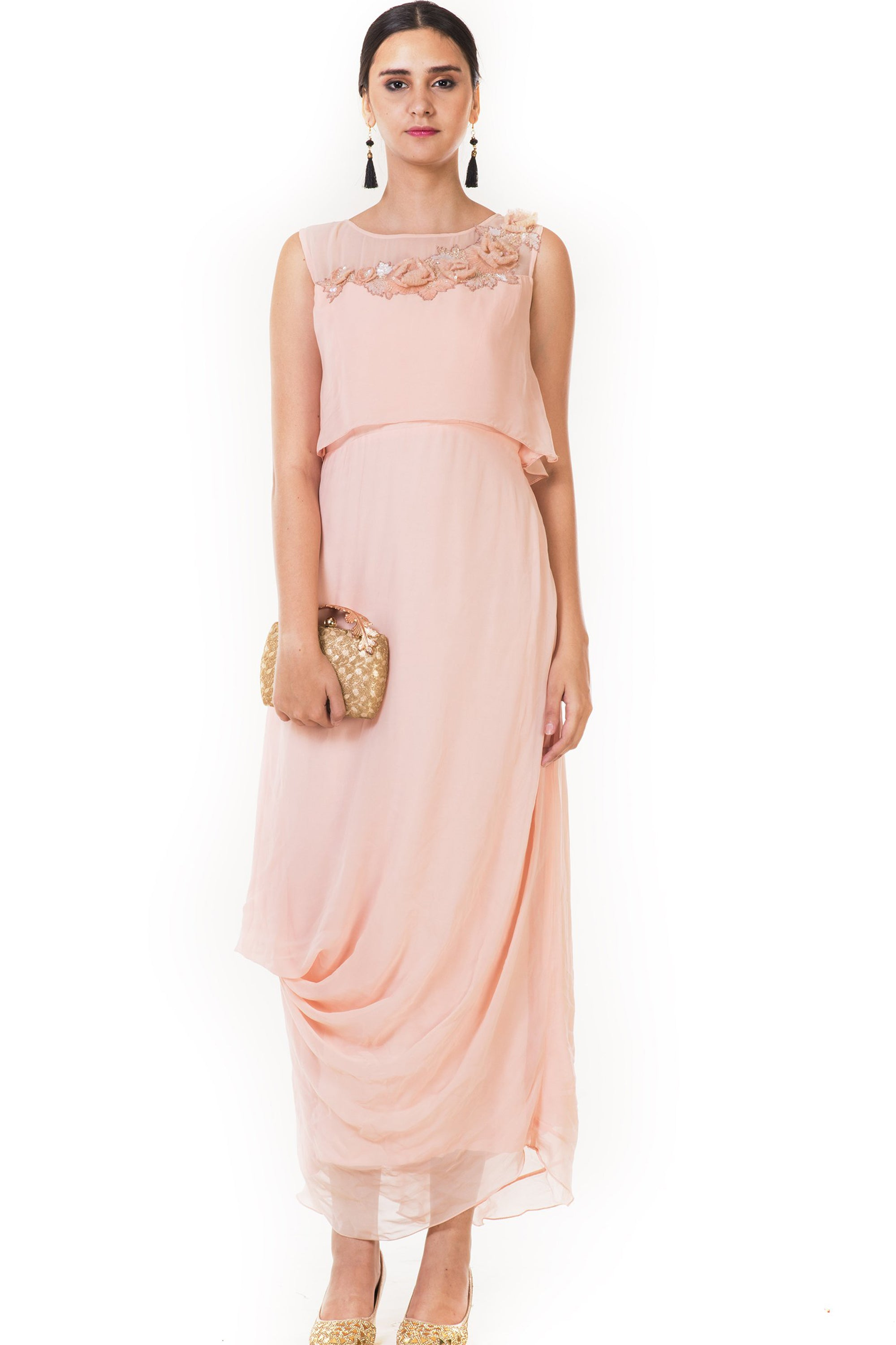 Embroidered Peach Drape Style Cape Gown Front