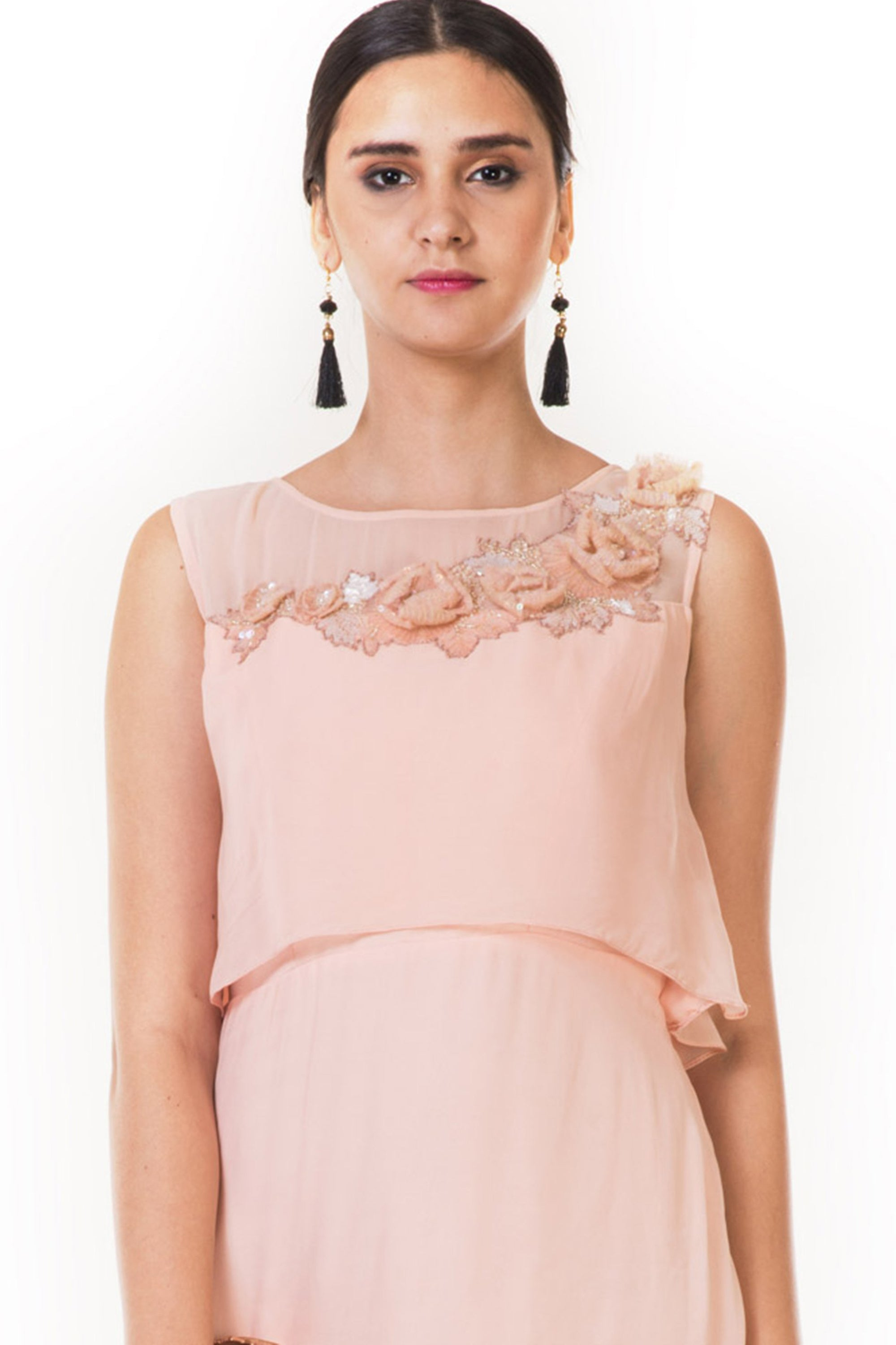 Embroidered Peach Drape Style Cape Gown CloseUp