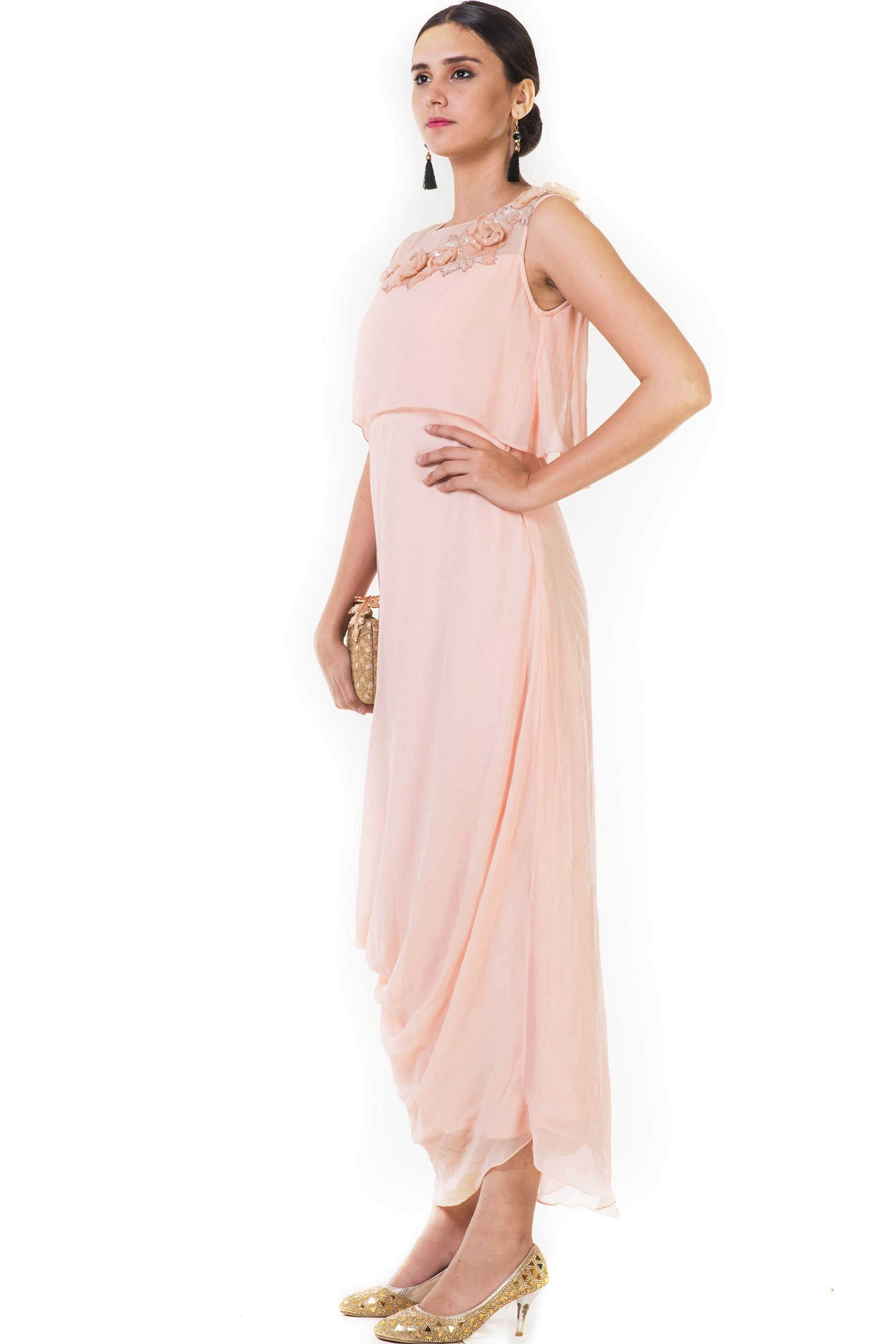 Embroidered Peach Drape Style Cape Gown Side