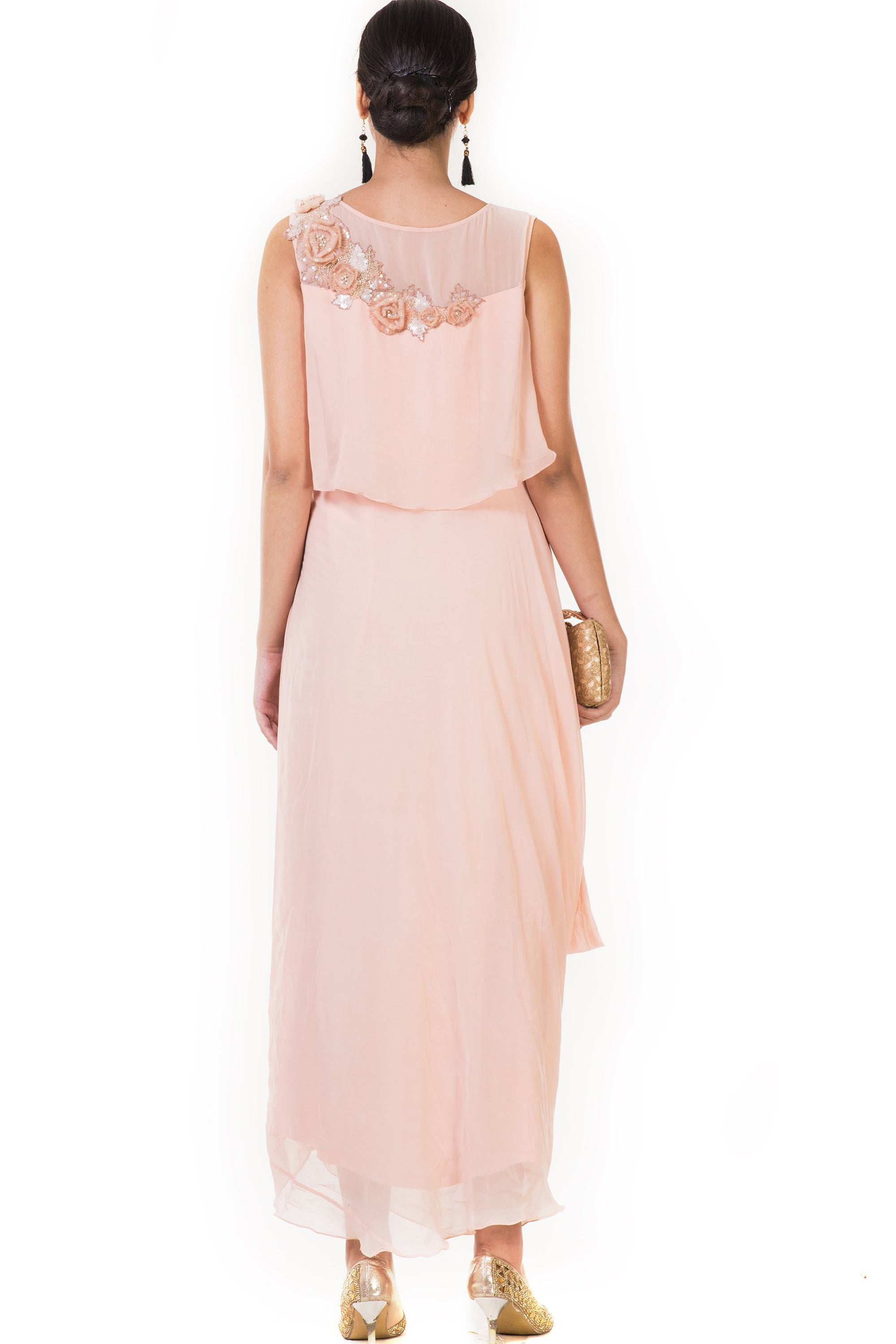 Embroidered Peach Drape Style Cape Gown Back