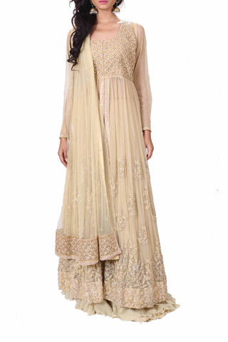 Beige Long Jacket Lehenga Front