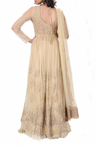 Beige Cream Long Jacket Lehenga