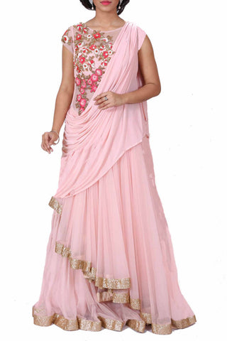 Blush Pink Embroidered Gown Front