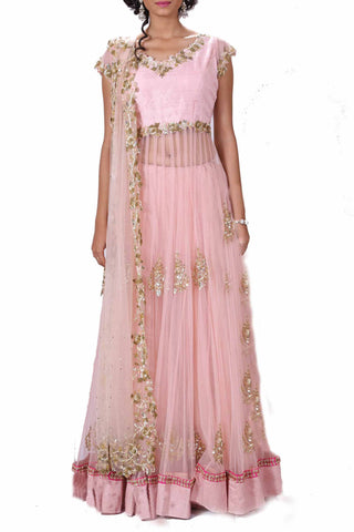 Blush Pink Long Lehenga Set With Heavy Dupatta Front