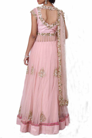 Blush Pink Long Lehenga Set With Heavy Dupatta