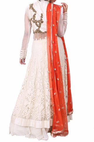 Ivory Long Jacket & Orange Dupatta Set