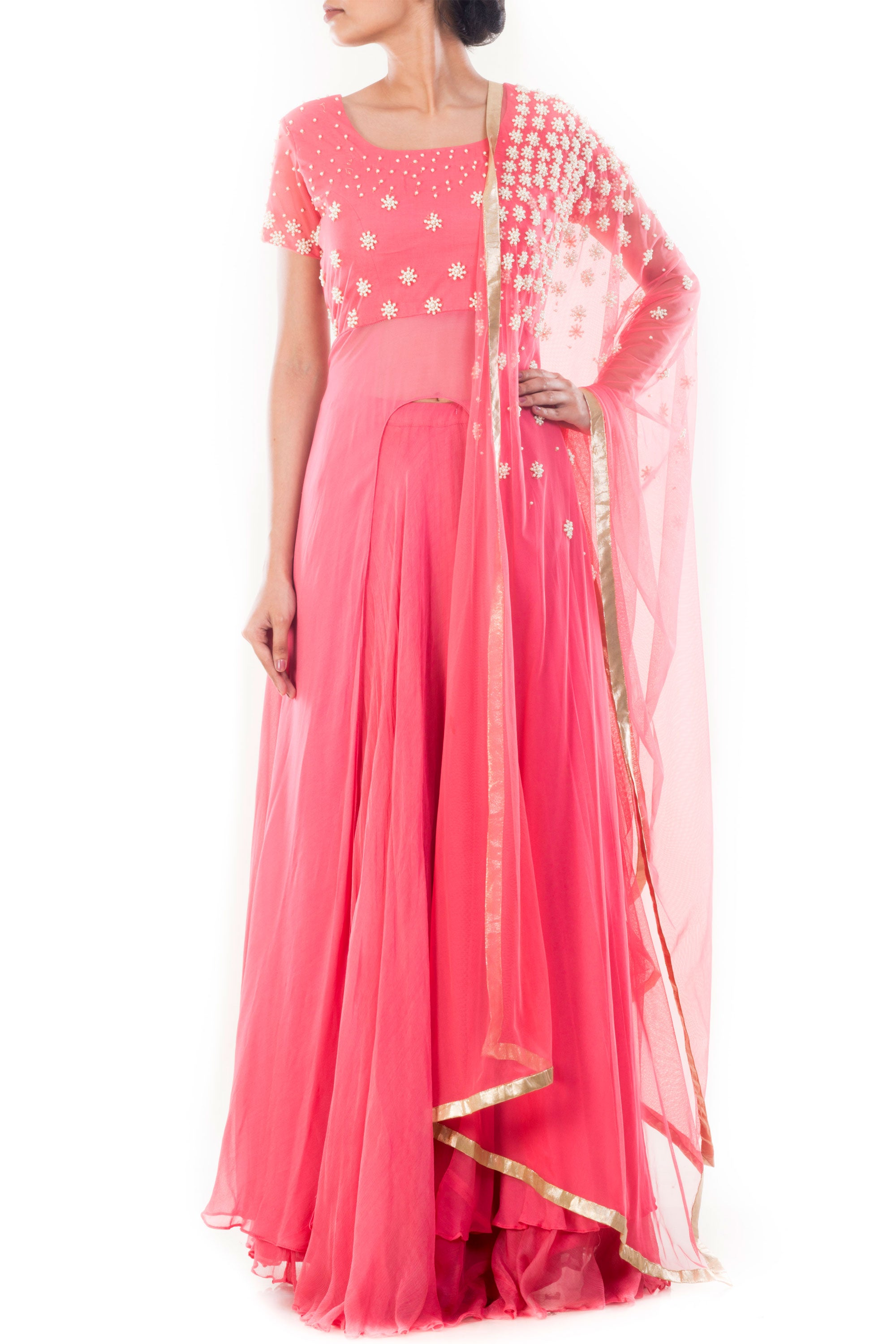 Light Coral Embroidered Lehenga Set Front