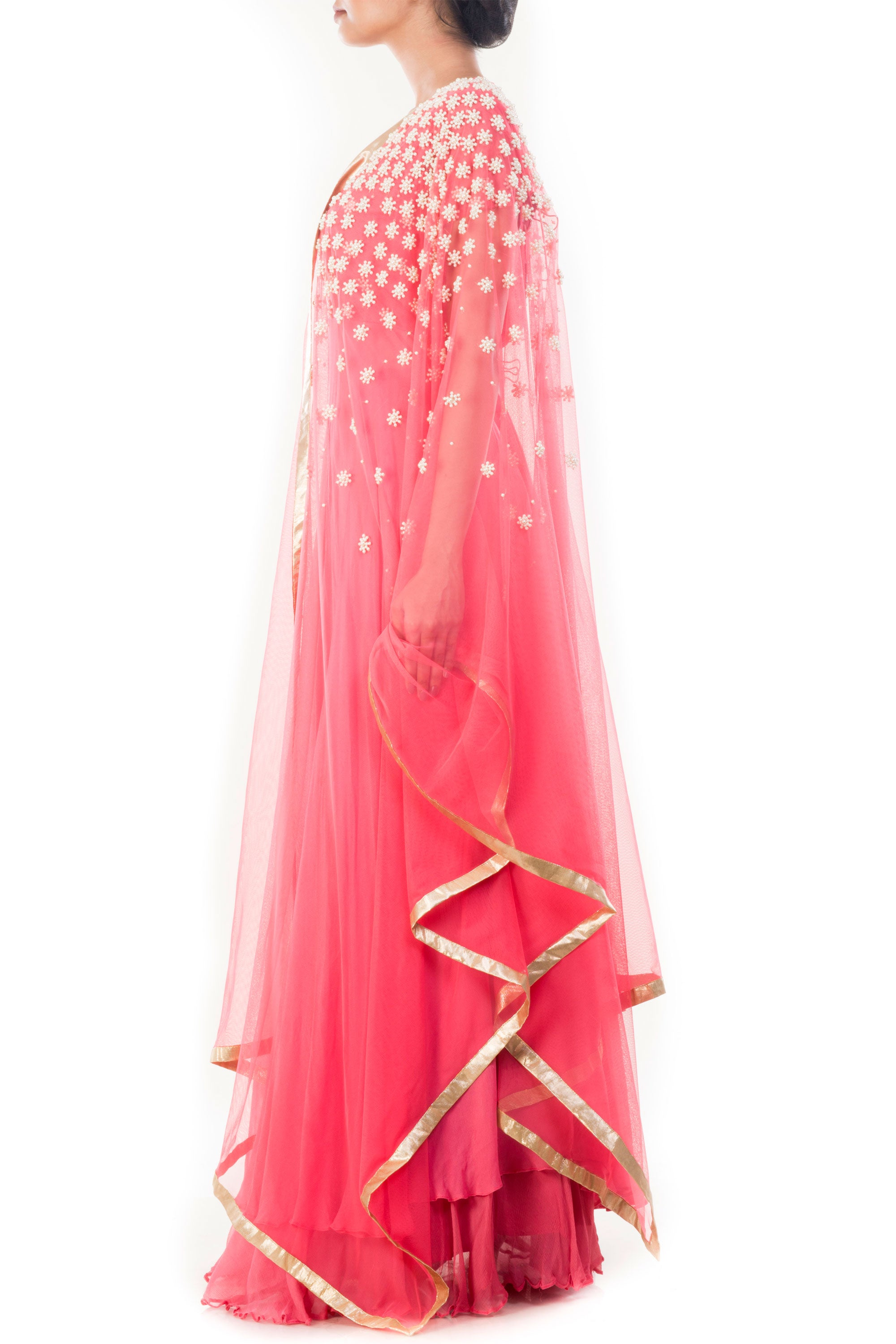 Light Coral Embroidered Lehenga Set Side