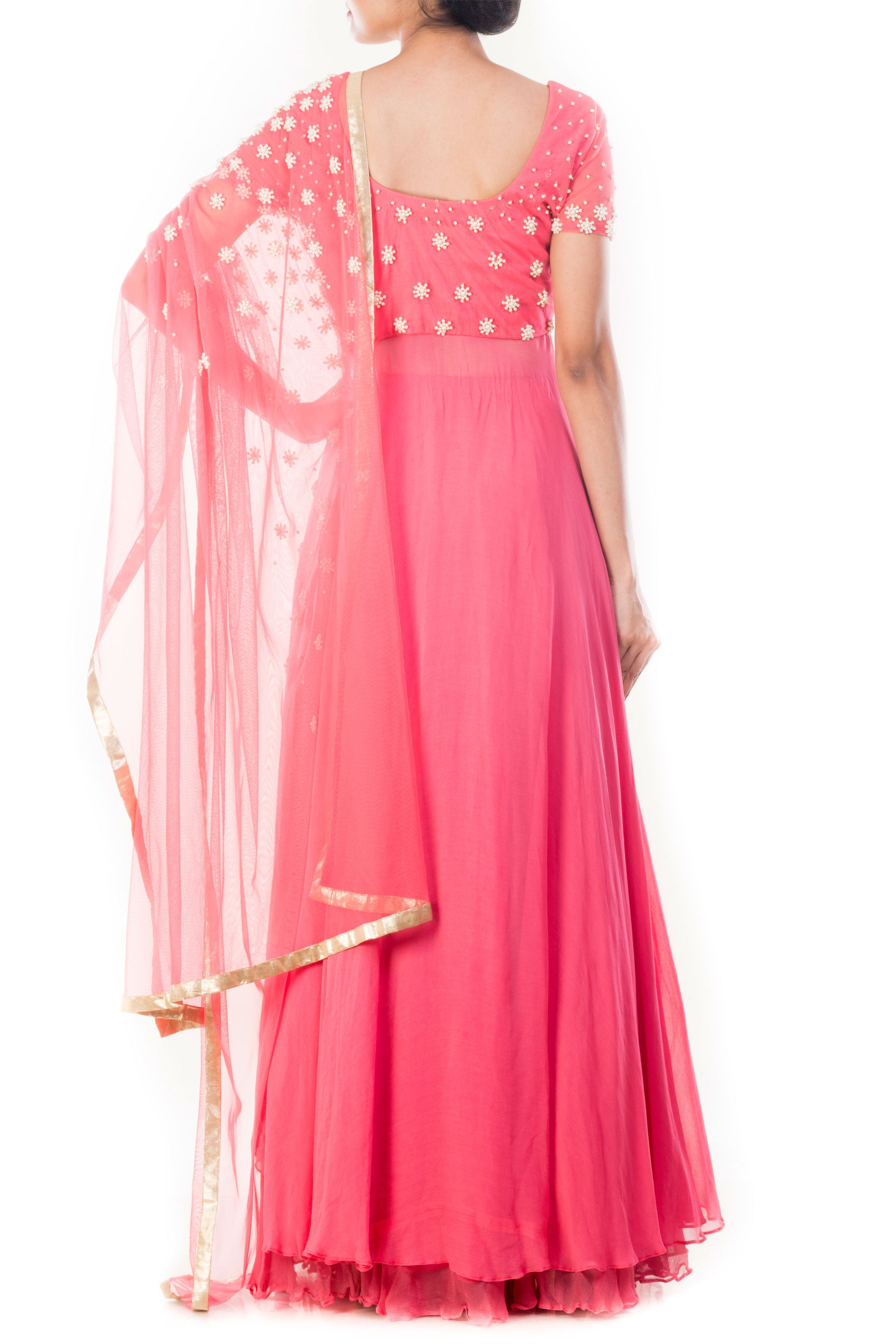 Light Coral Embroidered Lehenga Set Back