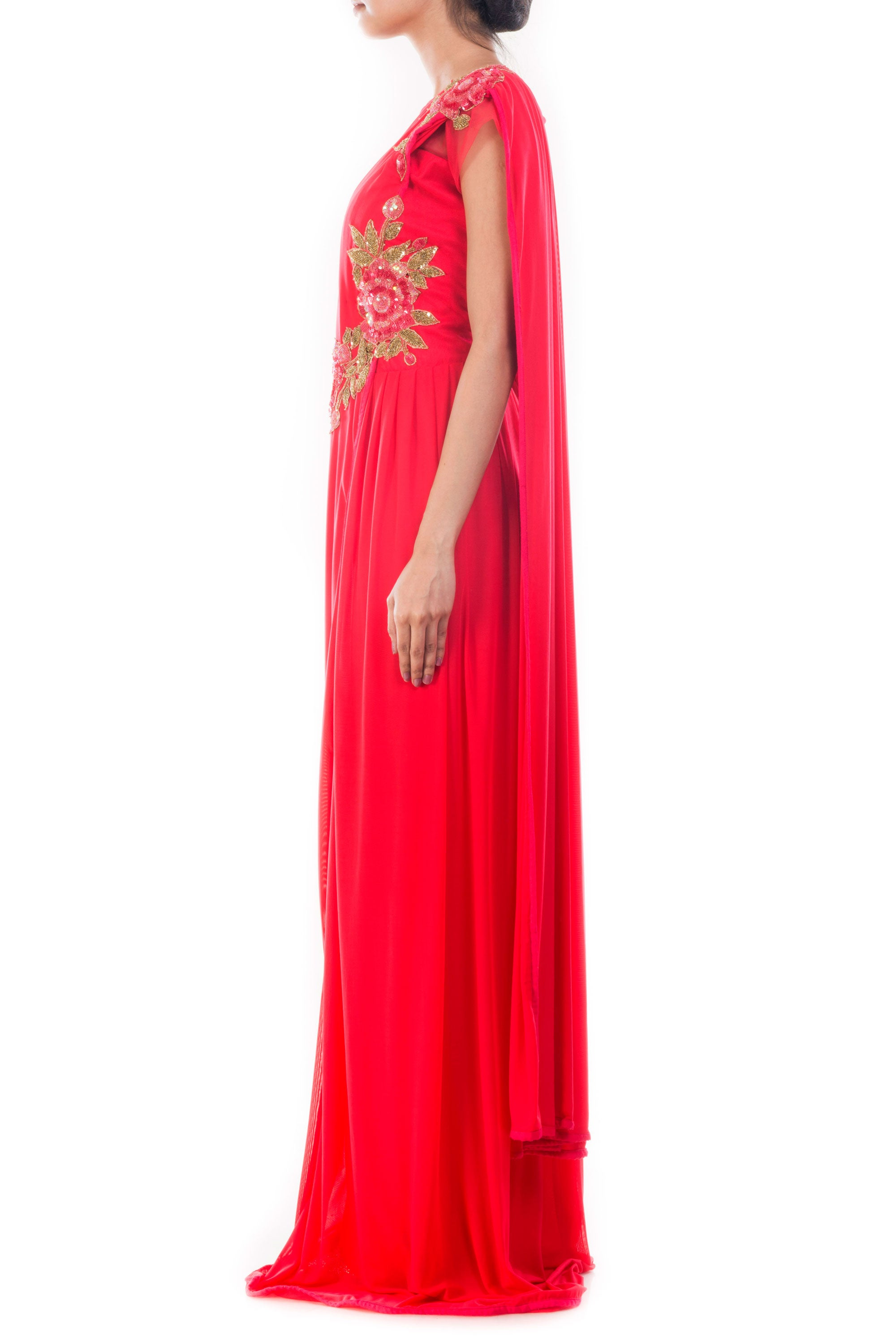 Crimson Red Draped Gown Saree Side