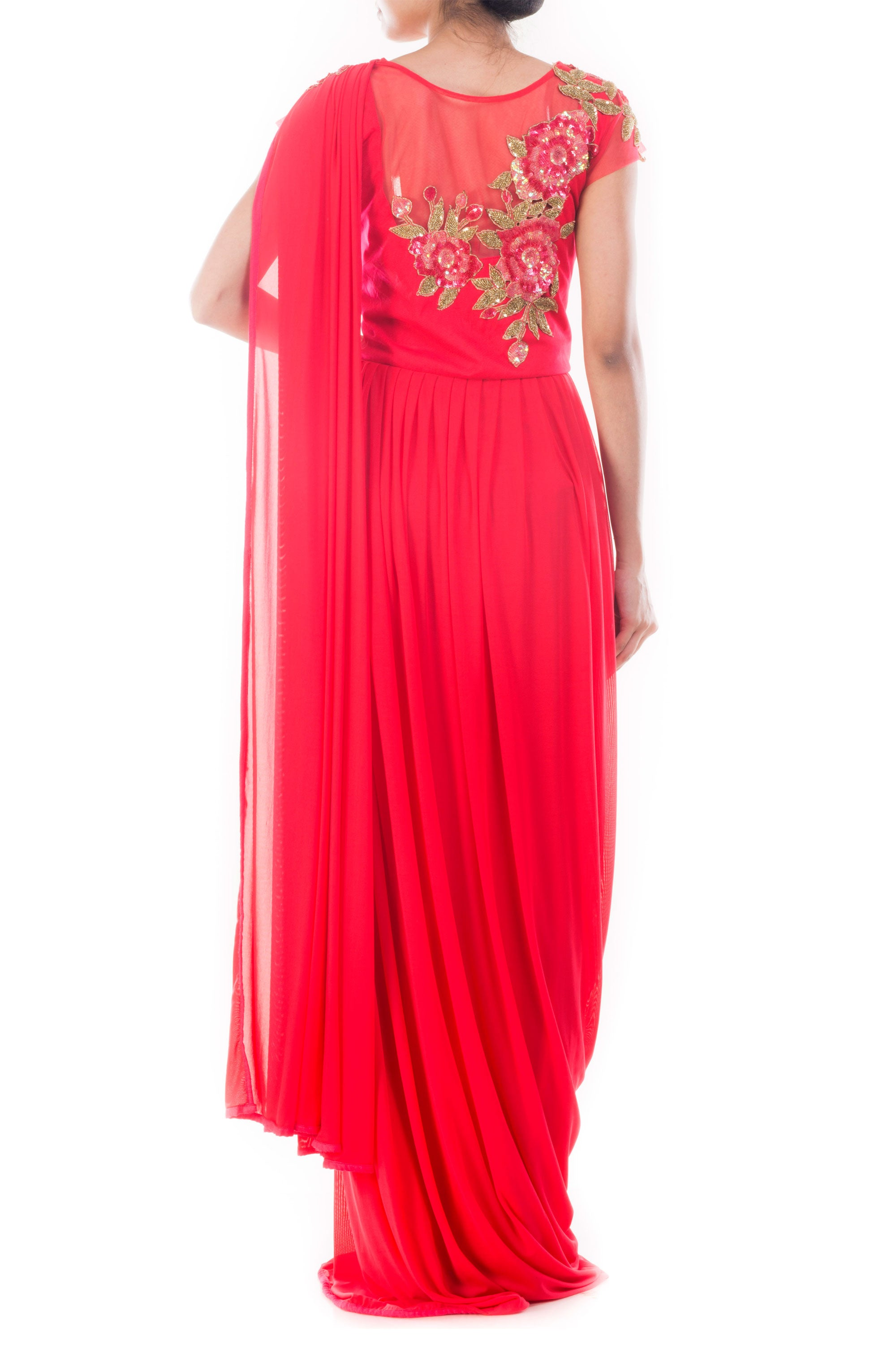 Crimson Red Draped Gown Saree Back