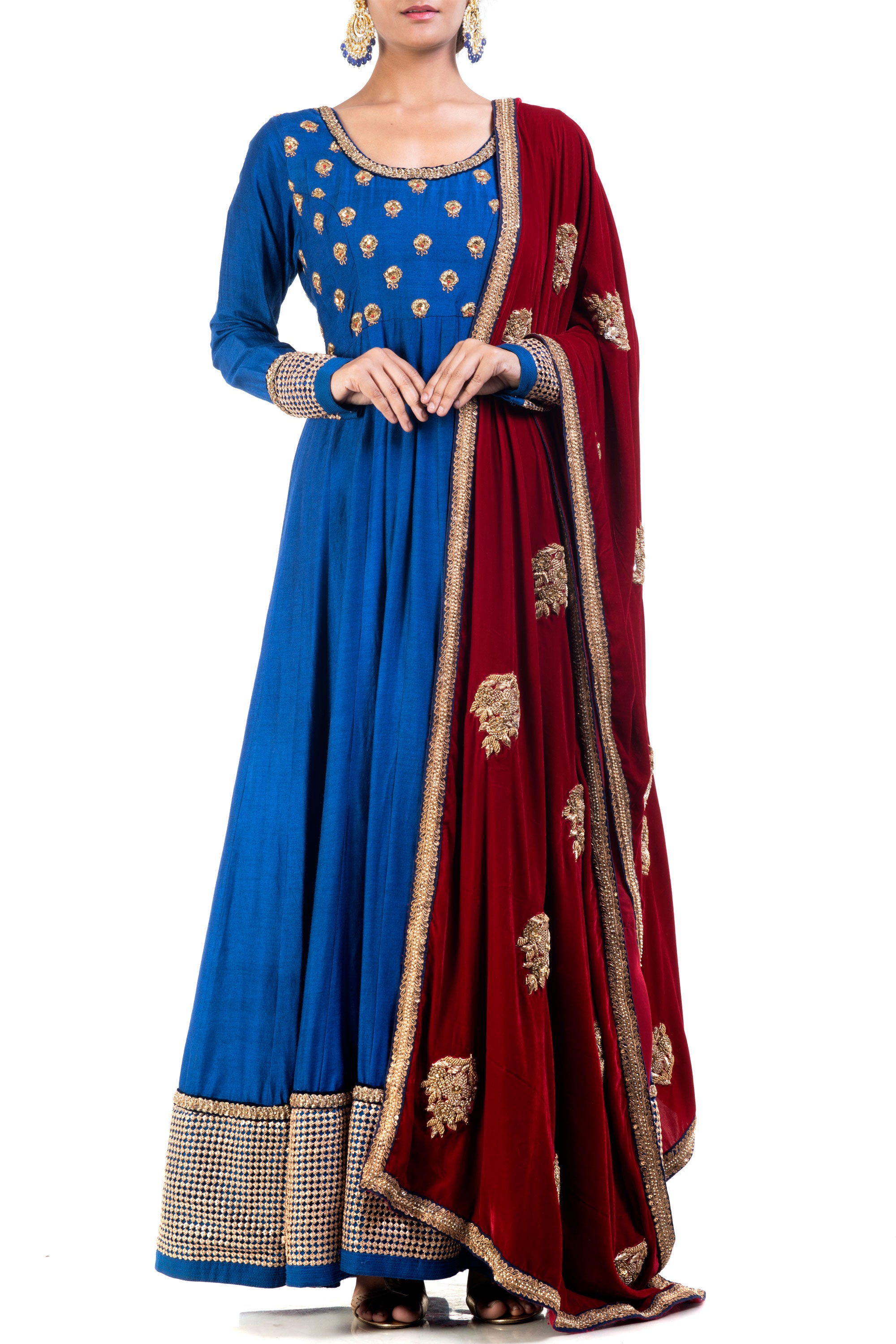 Elegant Embroidered Blue Bell Suit Set Front