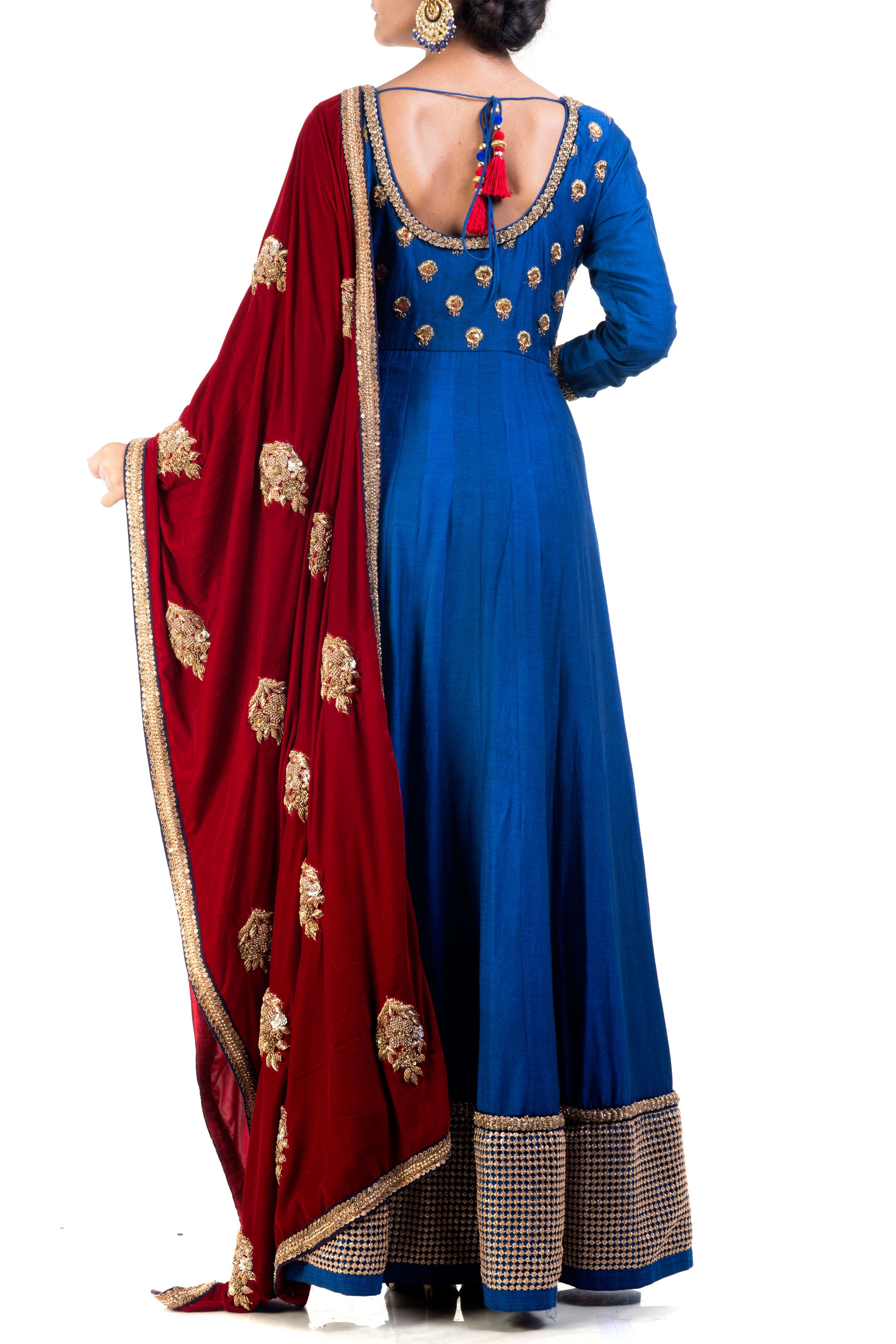 Elegant Embroidered Blue Bell Suit Set Back