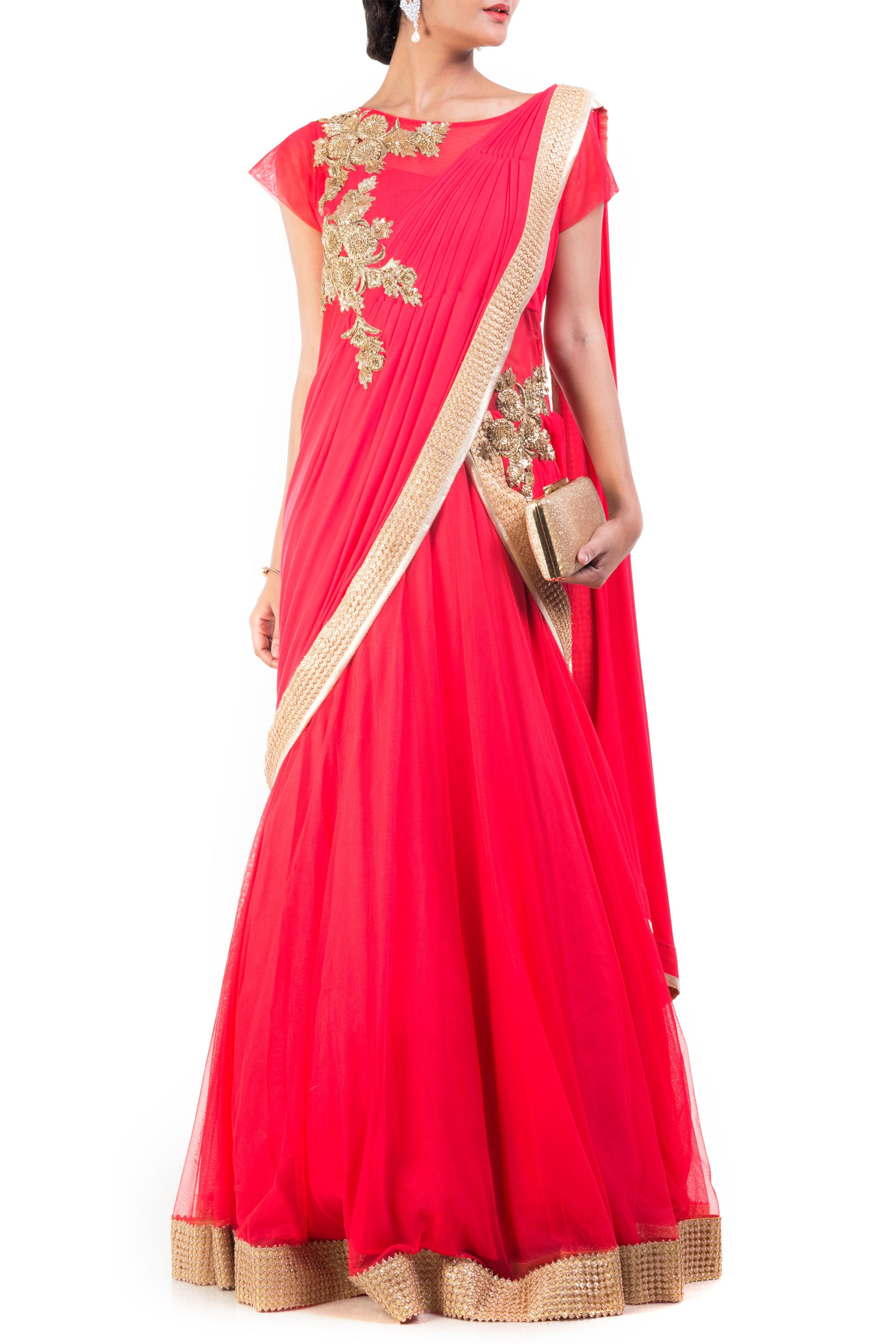 Tomato Coloured Gown Saree Front
