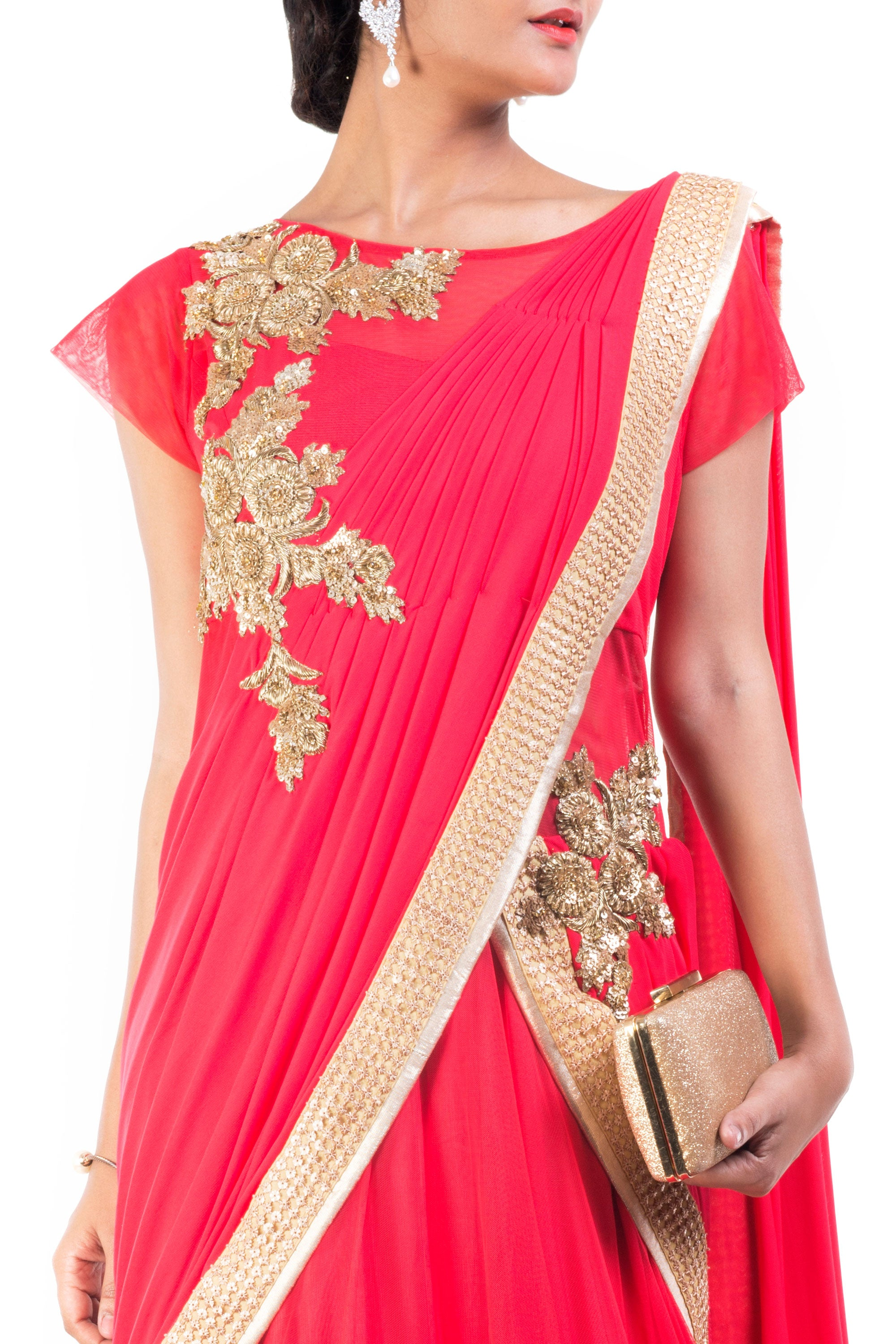 Tomato Coloured Gown Saree Closeup