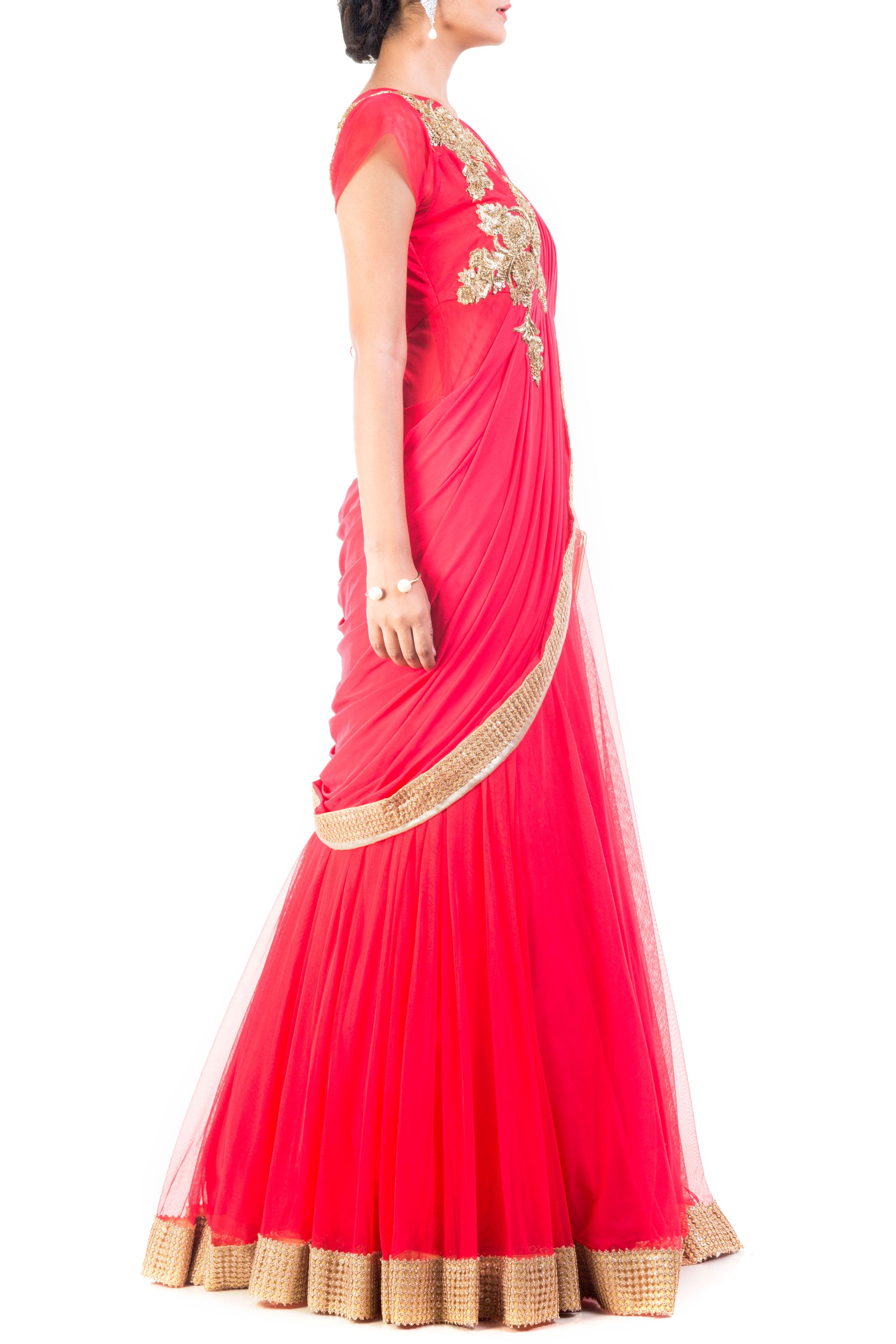 Tomato Coloured Gown Saree Side