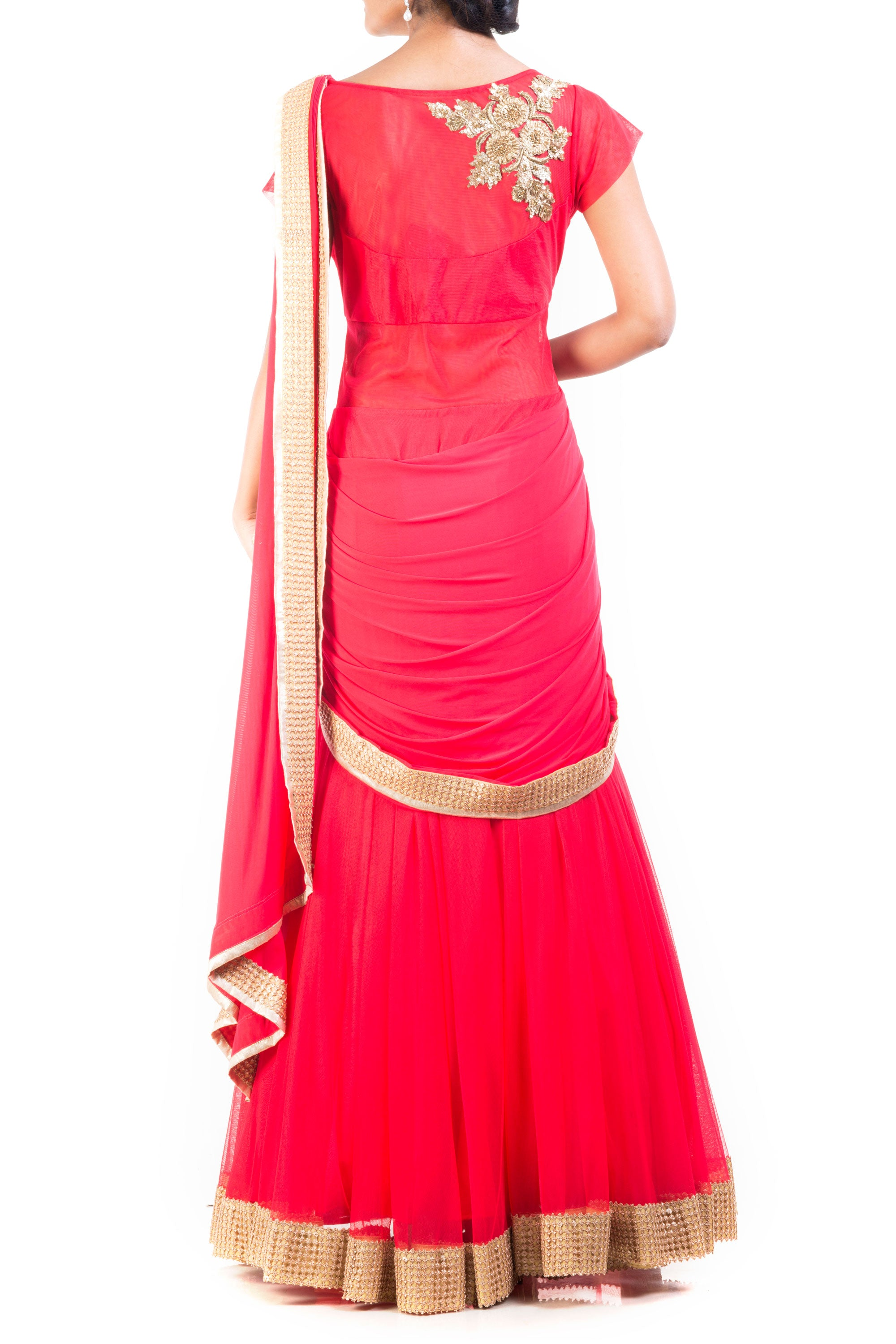 Tomato Coloured Gown Saree Back
