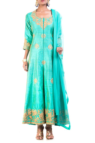 Turquoise Raw Silk Floral Suit Set Front