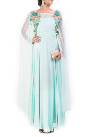 Aquamarine Cape Sleeves Dress Front