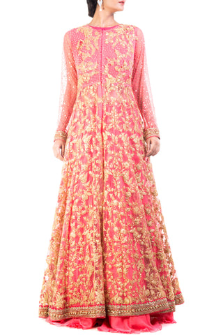 Cranberry Floral Embroidered Jacket Lehenga Set Front
