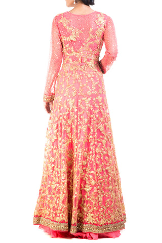 Cranberry Floral Embroidered Jacket Lehenga Set