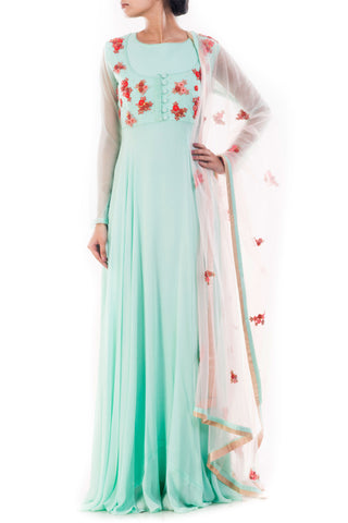 Turquoise Blue Anarkali Suit Set Front