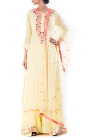 Moccasin Yellow Suit With Sharara Pants Front