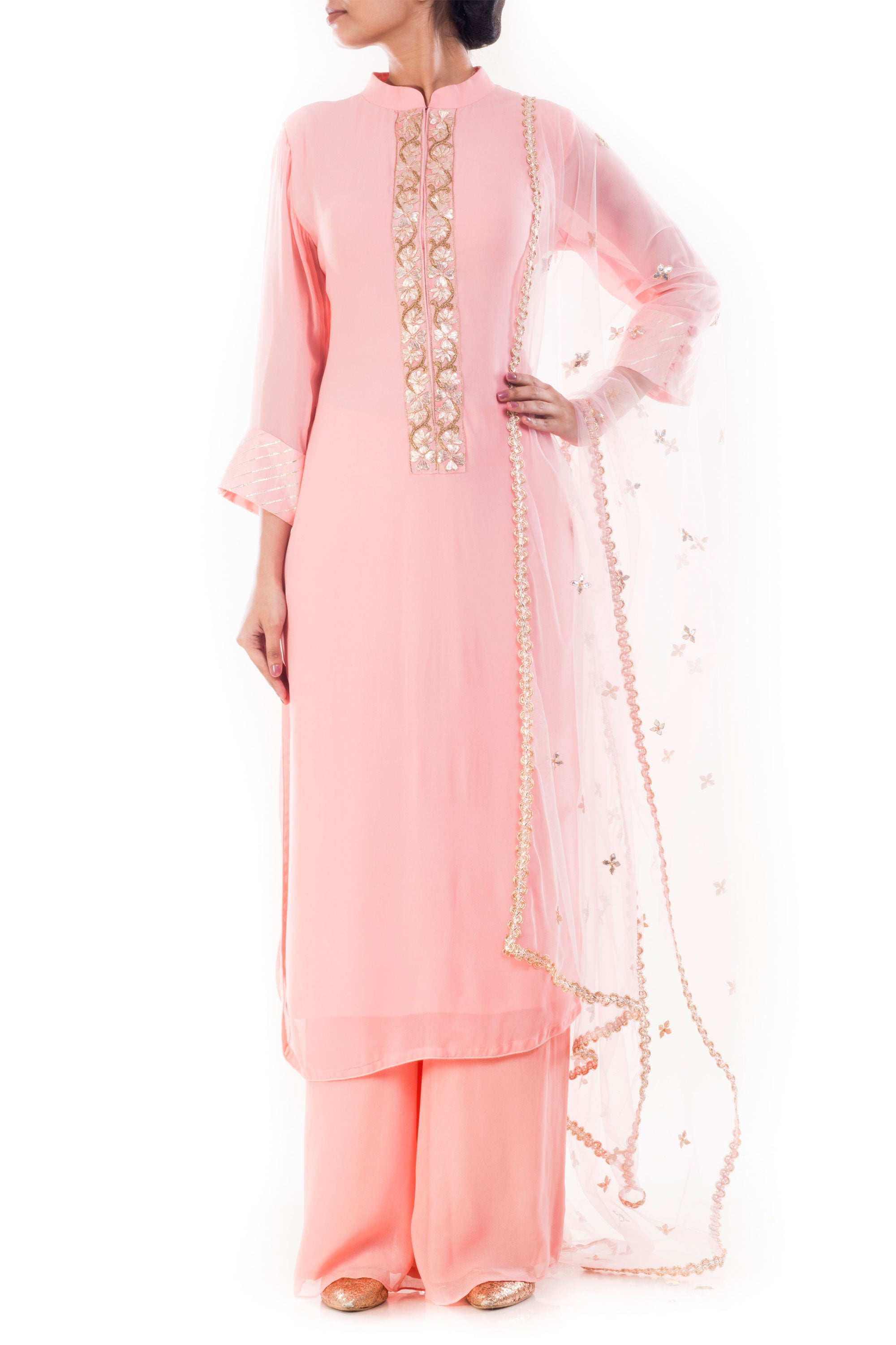 Blush Pink Embroidered Kurta & Palazzo Set Front
