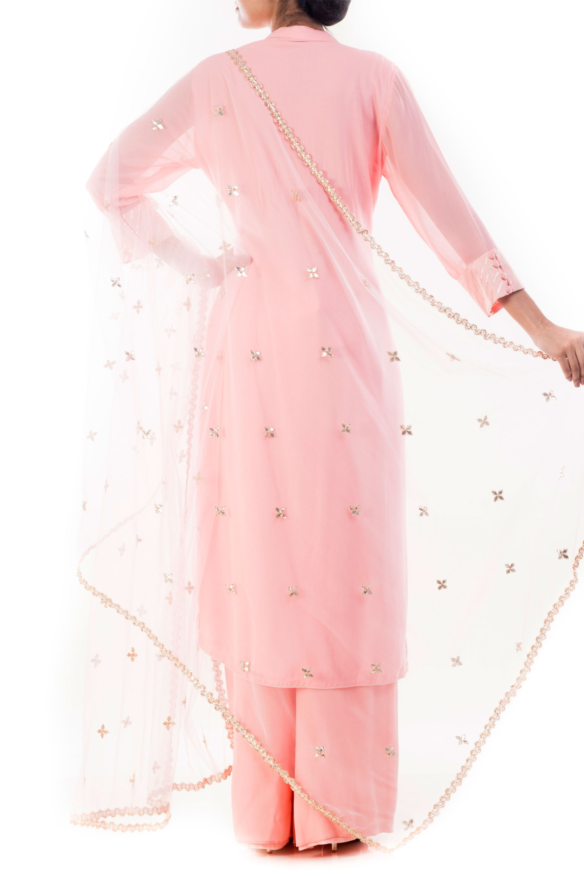 Blush Pink Embroidered Kurta & Palazzo Set Back