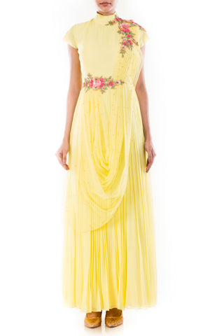 Butter Yellow Draped Gown Front