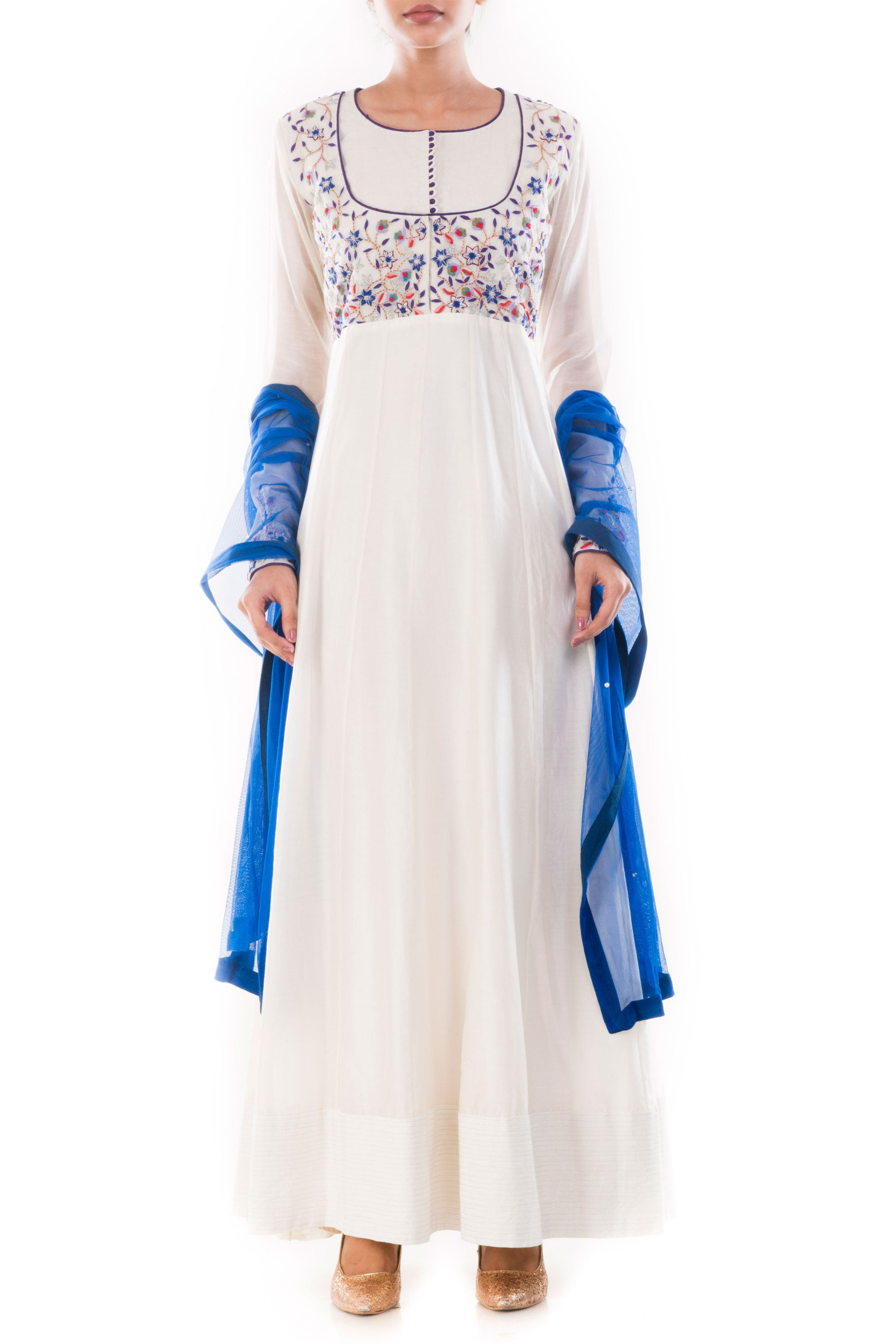 Ivory Anarkali Suit Set Front