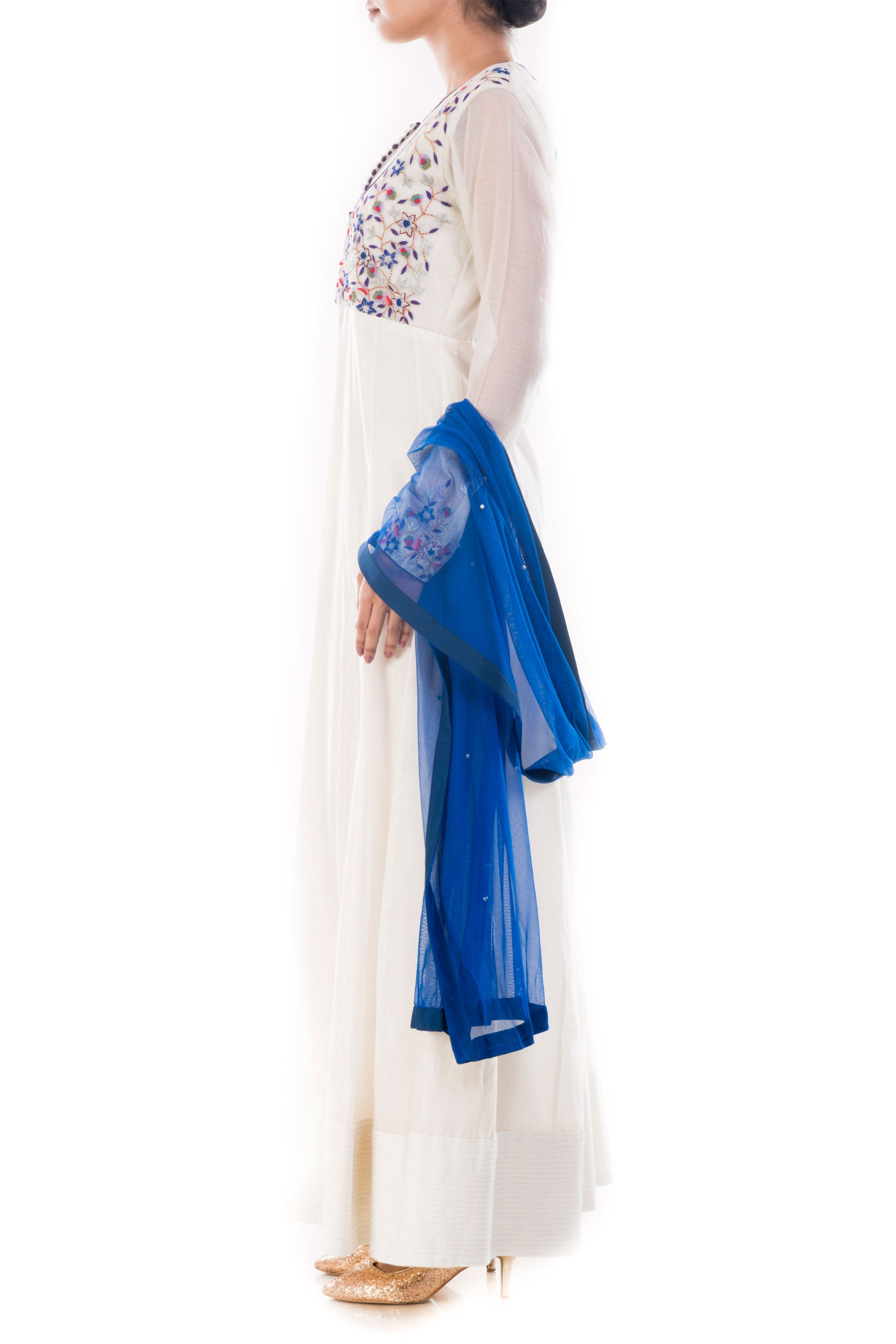 Ivory Anarkali Suit Set Side