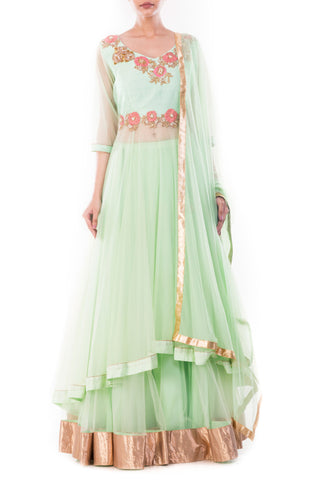 Alpine Green Lehenga Set Front