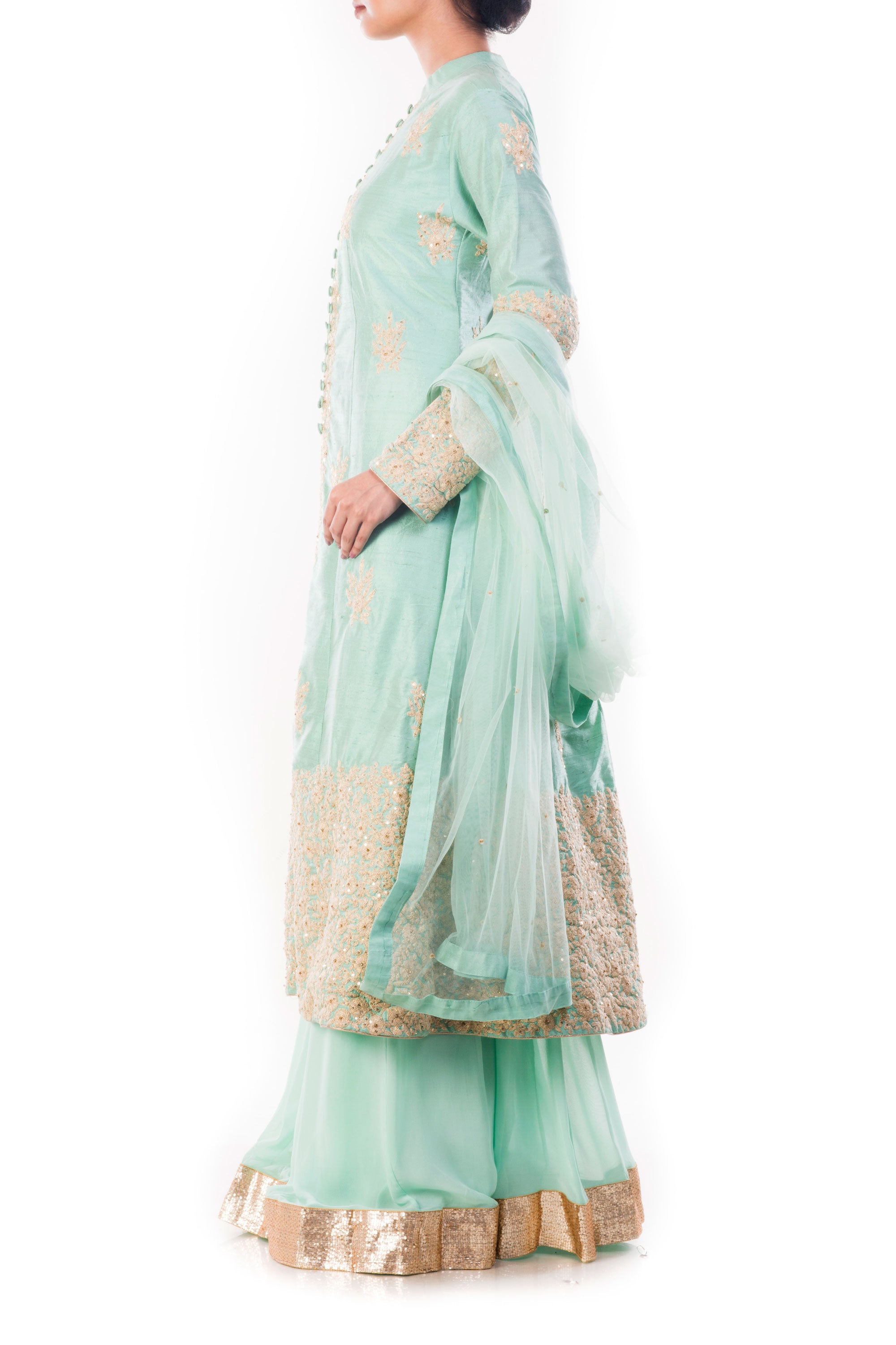 Aquamarine Kurta & Sharara Pant Set Side