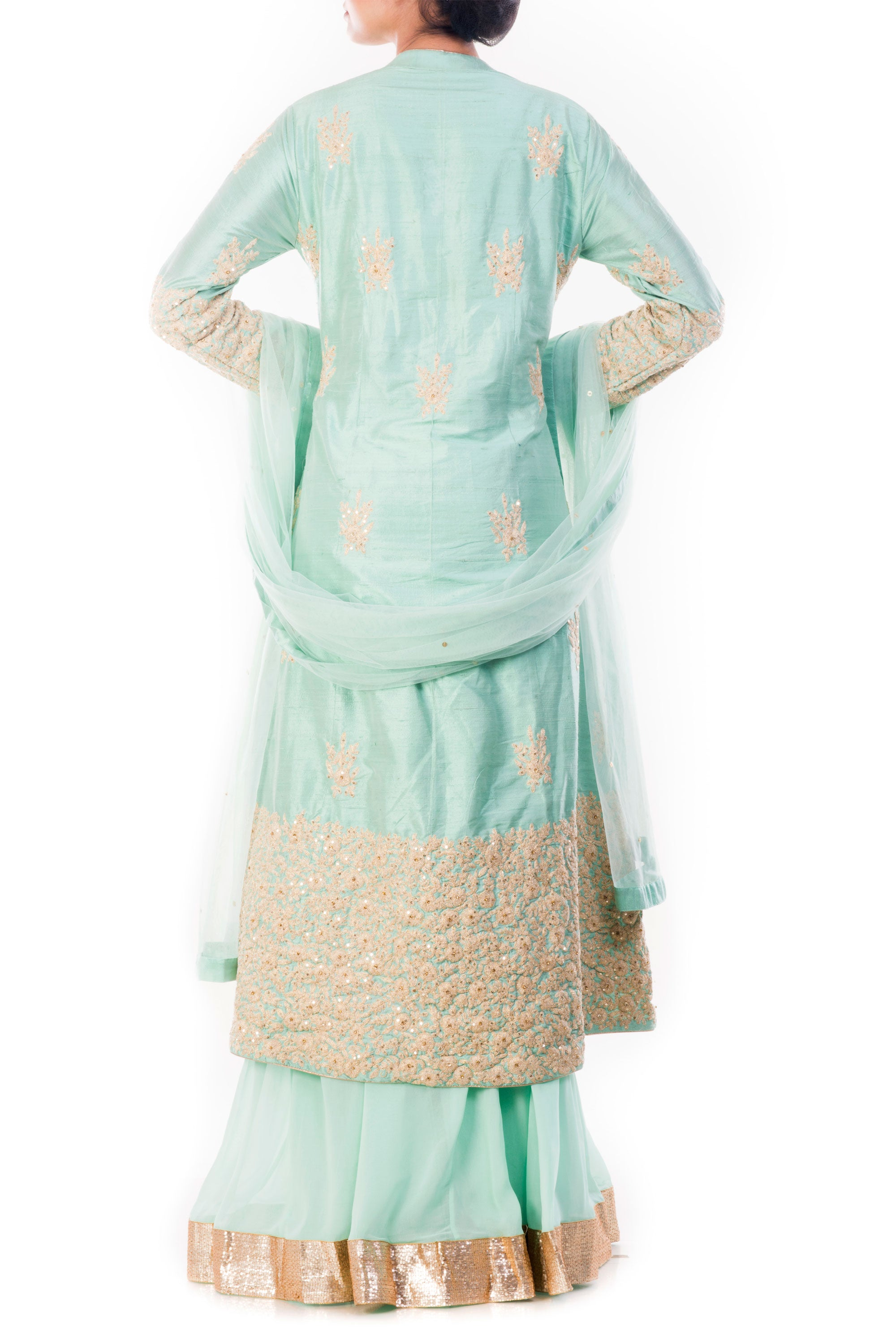 Aquamarine Kurta & Sharara Pant Set Back