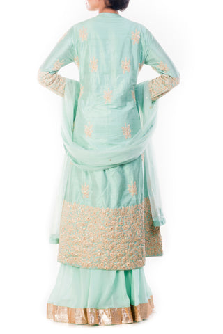 Blue Kurta & Sharara Pant Set