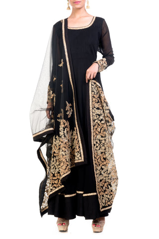Black Anarkali Suit Set Front