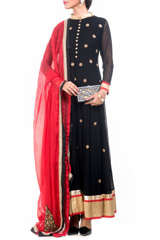 Black Anarkali Suit Set With Georgette Front