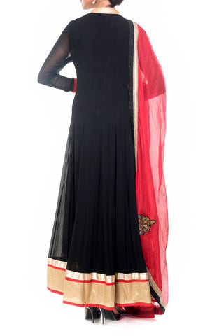 Black Anarkali Suit Set With Georgette